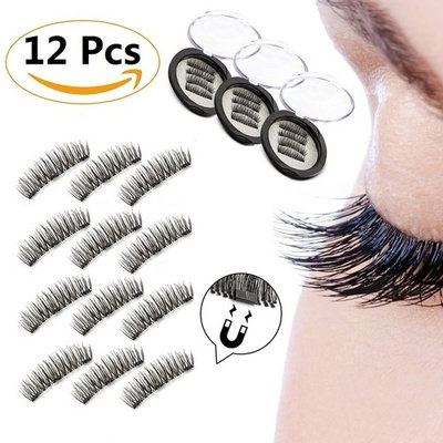 12 Pieces - Magnetic False Eyelashes, GP Beauty 3D Reusable Fake Eyelashes for Women Makeup, Perfect for Round Eyes & Deep Set Eyes, No Glue Required
