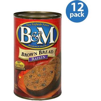 B & M Raisin Brown Bread, 16 oz, (Pack of 12)