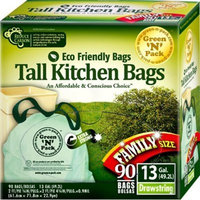 Green N Pack 13 Gallon Tall Kitchen Drawstring Bag, Tall Kitchen Trash Liners