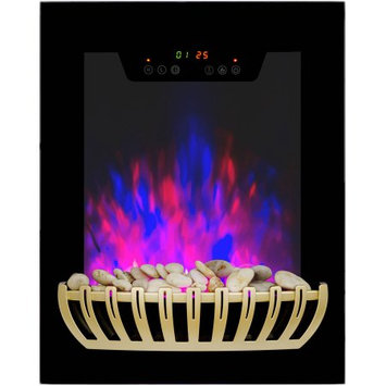 Akdy 19 in. Wall Mount Electric Fireplace Heater in Black with Tempered Glass, Pebbles and Remote Control, Black With Gold