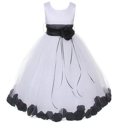 Kids Dream Little Girls White Satin Black Petal Flower Girl Dress 4