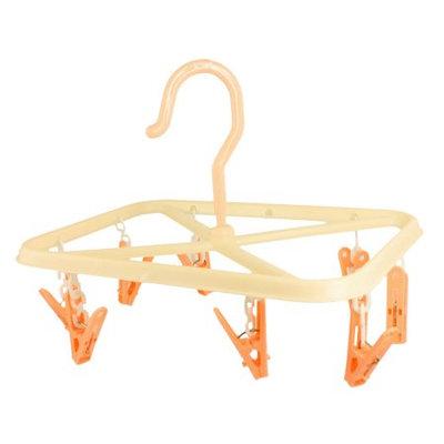 Unique Bargains Orange Plastic Handle Clothing Drying 8 Clips Clamps Hanging Hanger Hook