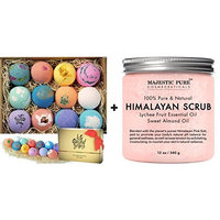 Bath Bombs Gift Set 12 USA made Fizzies, Shea & Coco Butter Dry Skin Moisturize, Perfect for Bubble & Spa Bath + Salt Body Scrub with Lychee Essential Oil from Majestic Pure