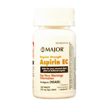 MAJOR ASPIRIN EC 325MG TABS UNBOXED ASPIRIN-325 MG Orange 100 TABLETS UPC