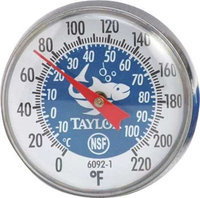 TAYLOR 6092NBL Thermometer, Blue Coded,0 to 220F
