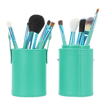 Makeup Bag, Sandistore Professional PU Leather Makeup Brushes Holder Cosmetic Brush Container Cylinder Vessel (Green)