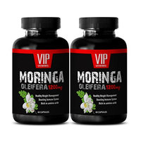 Moringa oleifera leaf capsules - MORINGA OLEIFERA EXTRACT 1200mg - Prevents excess fat accumulation - 2 Bottle 120 capsules