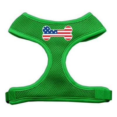 Mirage Pet Products Bone Flag USA Screen Print Soft Mesh Dog Harnesses, Large, Emerald Green