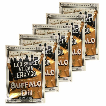 Louisville Vegan Jerky - Buffalo Dill, Vegetarian & Vegan Friendly Jerky, 21 Grams of Non-GMO Soy Protein, Gluten-Free Ingredients (3 Ounce, Pack of 5)