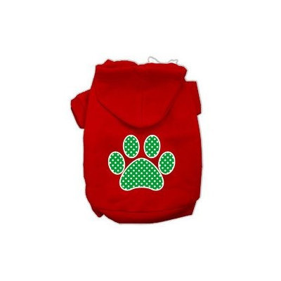 Mirage Pet Products Green Swiss Dot Paw Screen Print Pet Hoodies Red Size Med (12)