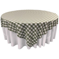 LA Linen TCcheck90x90-AppleGreenK46 Polyester Gingham Checkered Square Tablecloth White & Apple - 90 x 90 in.