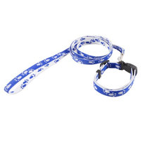 Portable Adjustable Dog Puppy Lead Leash Blue White w Release Buckle