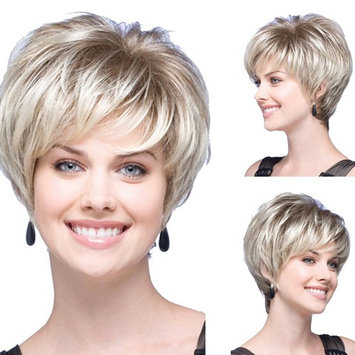 """Wigood 12"""" Short Curly Silver Fluffy Wig Heat Resistant Fiber Wig with Free Wig Cap for Women"""