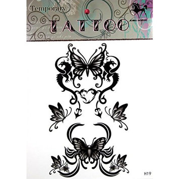 GRASHINE Extra large tattoo 11.81 x 8.66 Inches new big design black butterflies temporary tattoo stckers by Grashine