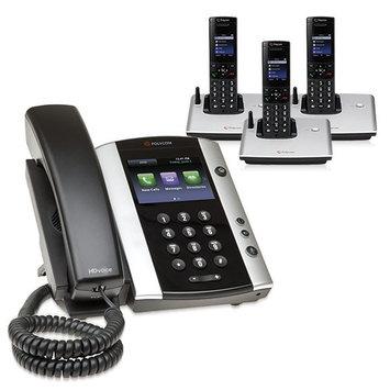 Polycom 2200-44500-001 w/ Three Handsets VVX 500 Business Media Phone