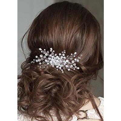 FXmimior Bridal Women Gold Leaves Vintage Wedding Party Crystal Rhinestone Hair Comb Hair Accessories Wedding Headpiece
