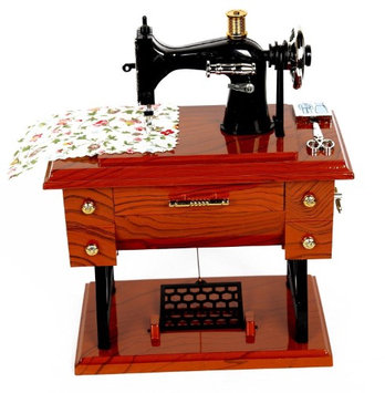 Toner Depot Vintage Mini Sewing Machine Style Plastic Music Box Table Desk Decoration Toys