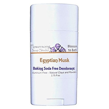 Flowersong Egyptian Musk Baking Soda Free Deodorant - Aluminum Free - Natural Clays and Powders