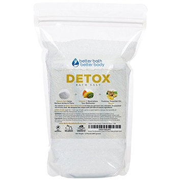 Detox Bath Salt 32oz (2-Lbs) - Epsom Salt Bath Soak With Ginger & Lemon Essential Oil Plus Vitamin C - All Natural No Perfumes No Dyes - Detoxify & Revitalize Your Body & Mind Naturally