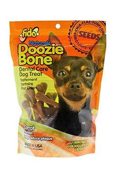 Fido Naturals Doozie Bone - Dental Care Dog Treat, Carrot Flavored, 21ct (Mini Treats)