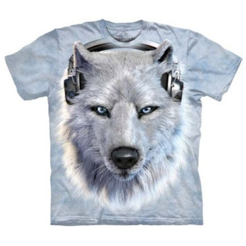 White 100% Cotton White Wolf Dj Realistic Graphic T-Shirt