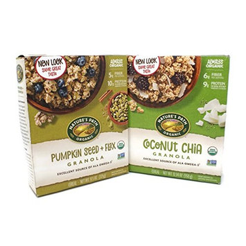 Variety Pack - Natures Path Organic Granola - Coconut Chia Granola (12.34oz), Pumpkin Seed & Flax Granola (11.5oz)