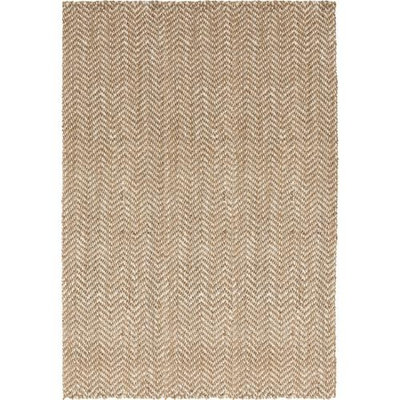 3.25' x 5.25' Moroccan Chevron Beige and Ivory Hand Woven Jute Area Throw Rug
