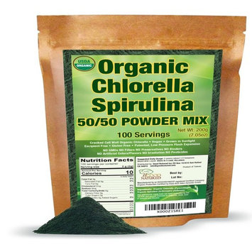 Organic Chlorella Spirulina Powder 50/50 Mix 100 Servings - by Good Natured