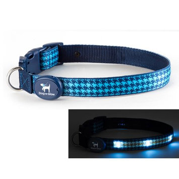 Dog-e-glow Light Up LED Dog Collar - Patented Light Up Durable Glowing Collar for Puppies and Dogs - by Dog e Glow (Blue Houndstooth, Medium 10