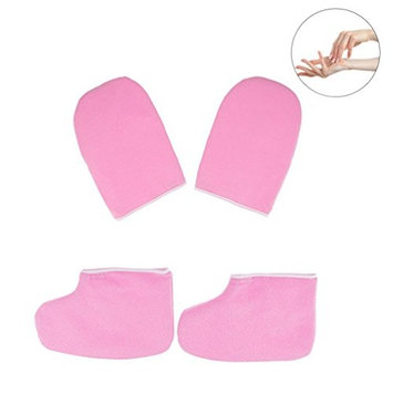 Pretty See Paraffin Wax Bath Gloves and Booties Soft Spa Mitts Wax Heat Moisturizing Booties, Pink