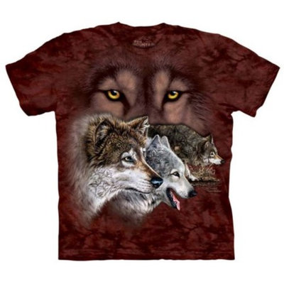 Off-Red 100% Cotton Find 9 Wolves Realistic Graphic T-Shirt
