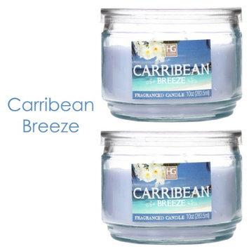 Hosley Set of 2 Caribbean Breeze Highly Scented, 2 Wick, 10 Oz wax, Jar Candle