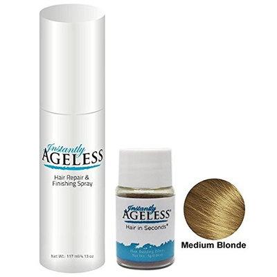 Hair Building Fibers   Starter Set   Hair in Seconds TM   Medium Blonde   .18 oz (5g) Fibers   Finishing Spray   Microfiber Bag   Instantly Ageless TM