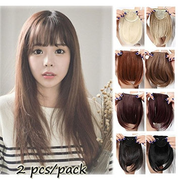 Clip in Bangs Hair Extensions Black Brown Blonde for Women One Piece Full Neat Fringe/ Side Bang 8''/20cm Thick Straight False Hairpiece with 2 Clips Accessories