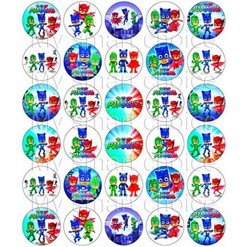 30 x Edible Cupcake Toppers – PJ Masks Themed Collection of Edible Cake Decorations | Uncut Edible Prints on Wafer Sheet