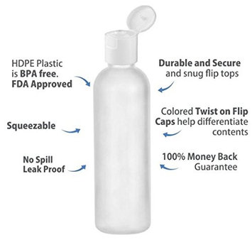 MoYo Natural Labs 4 oz Travel Bottles, Empty Travel Containers with Disc Caps, BPA Free HDPE Plastic Squeezable Toiletry/Cosmetic Bottles (Neck 24-410) (Pack of 12, HDPE Translucent White)