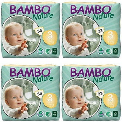 Bambo Nature Baby Diapers Classic (Size 3, Count 33, Pack of 4)