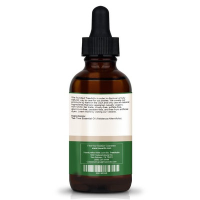 TreeActiv Acne Eliminating Tea Tree Essential Oil | All Natural Blemish Spot Treatment | Men Women and Teens | Treats Mild Moderate Severe Cystic Face Body Back Chest Shoulder Butt Acne (2 oz)