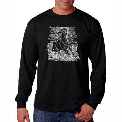 Los Angeles Pop Art Men's Word Art Long Sleeve T-Shirt - Popular Horse Breeds [Fit : Men's]