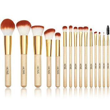 TheFellie Makeup Brushes, Professional Bamboo Handle Powder Flat Foundation Blush Concealer Eyebrow Eyeshadow Eyeliner Eyelash Lip Brush Set, 15 Pcs