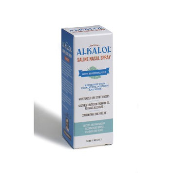 The Alkalol Company Alkalol. Alkalol Saline Nasal Spray 1.69 oz. Moisturizes Dry, Stuffy Noses. Soothes Irritation from Colds, Flu and Allergies. Comforting, Daily Relief.