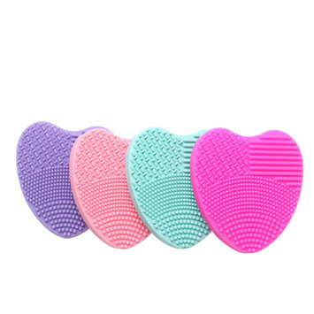 5pcs Makeup Brush Cleaner Pad Glove Heart Shaped Mini Silicone Cosmetic Brush Cleaning Mat Washing Tool