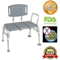 Transfer Bench Adjustable Height,heavy Duty Bariatric 500 Lb Plastic Seat Transfer Bench with Back Non-slip Seat Gray By Healthline Trading