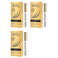 Long 4 Lashes by Oceanic, Long-Wearing Mascara 24H, Black, 8 ml (Pack of 3) + FREE Curad Bandages 8 Ct.
