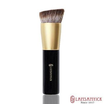 LAMSAMYICK ( LSY ) Flat Angled Foundation Makeup Brush for Essence, Liquid, Cream, Powder , Stick - Wet and Dry Use (Black)