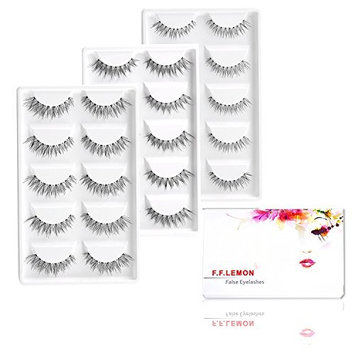 Fake Wispy Nature Eyelashes, FFLEMON 15 Pairs Demi Wispies False Eyelashes, 3 Styles Multipack in bulk, Super Nature Soft Invisible Stem,Demi Wispy Lashes, Reusable