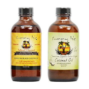 Sunny Isle Jamaican Black Castor Oil 4 Oz & Organic Extra Virgin Coconut Oil 4 Oz w/Applicator