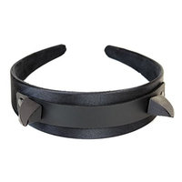 Black Devil Horns Claw Spike Headband Hair Genuine Leather Top Cosplay