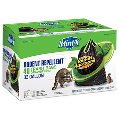 Mint-X 33 Gal. Rodent-Repellent Drawstring Trash Bags (40-Count)