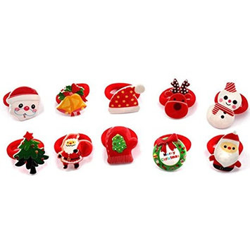Cuhair(tm) 10pcs new year christmas Children Ribbon Bow Elastic Hair Bands tie rubber Rope Ponytail Holder Kids fabric flowers Baby Girls Hair Accessories Scrunchie